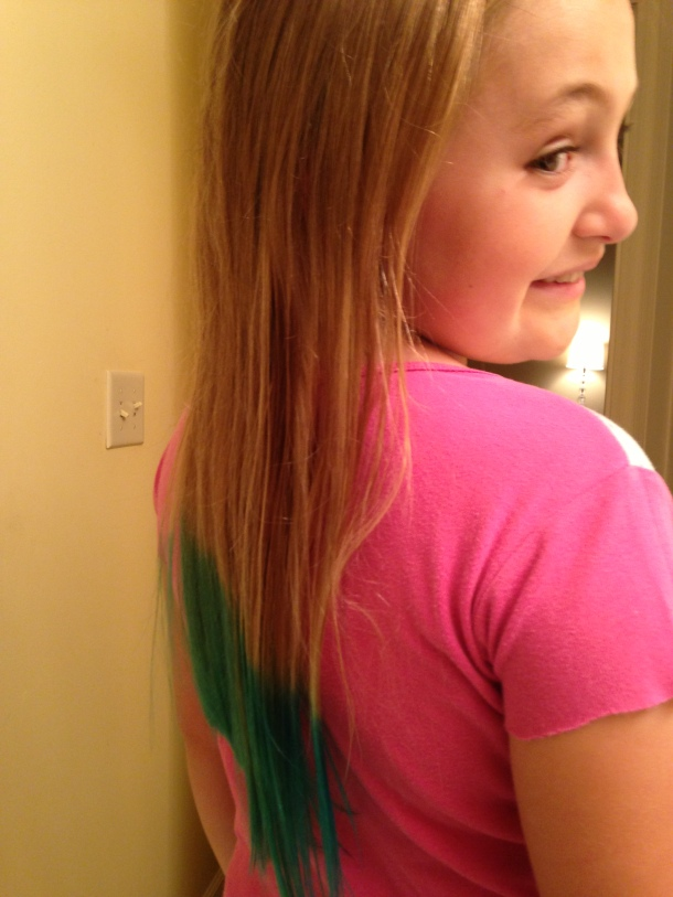 $21 + 15 minutes = 4 inches of turquoise hair.